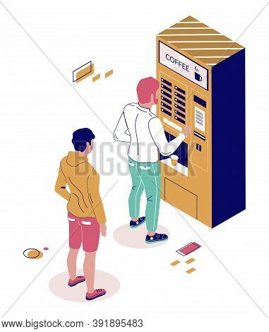 People Buying Coffee Drink From Coffee Vending Machine, Flat Vector Isometric Illustration. Vending