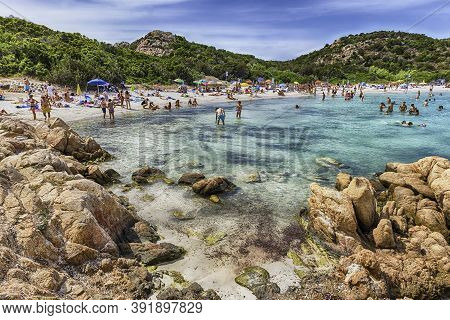 Sardinia, Italy - August 3: View Of The Iconic Spiaggia Del Principe, One Of The Most Beautiful Beac