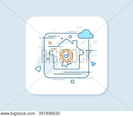 Approved Award Line Icon. Abstract Vector Button. Accepted Certificate Sign. Confirmed Medal Symbol.