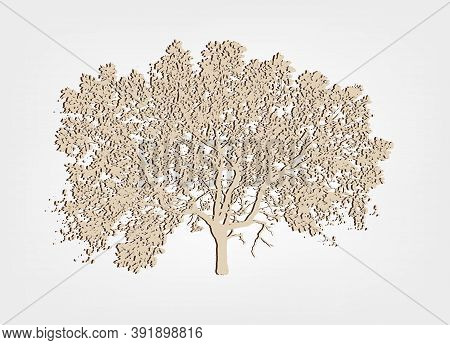 Silhouette Of An Oak Tree. Effect Paper. Vector Illustration Isolated On White Background