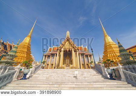 Golden Pagoda At Temple Of The Emerald Buddha In Bangkok, Thailand. Wat Phra Kaew And Grand Palace I