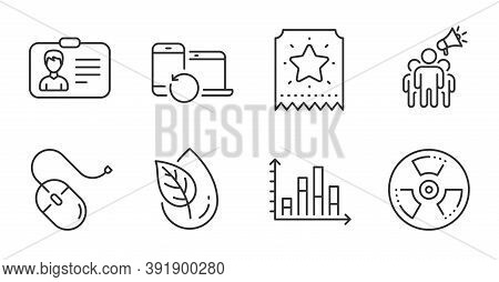 Brand Ambassador, Computer Mouse And Diagram Graph Line Icons Set. Organic Product, Loyalty Ticket A