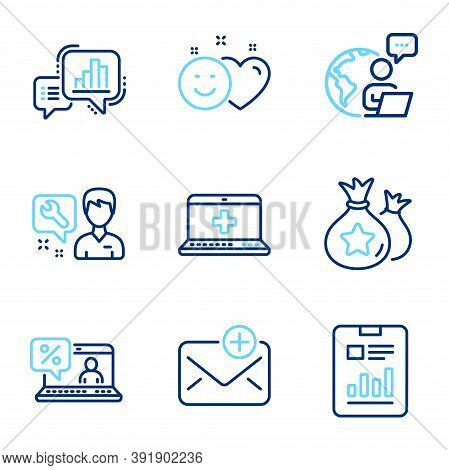 Technology Icons Set. Included Icon As Medical Help, Loyalty Points, Graph Chart Signs. Online Loan,