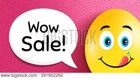Wow Sale. Easter Egg With Yummy Smile Face. Special Offer Price Sign. Advertising Discounts Symbol.