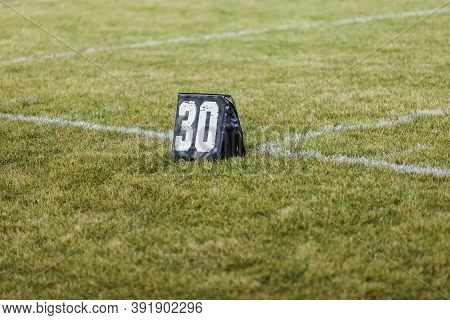 A Thirty Yard Line Marker Ready For Practice At Marching Band Rehearsal