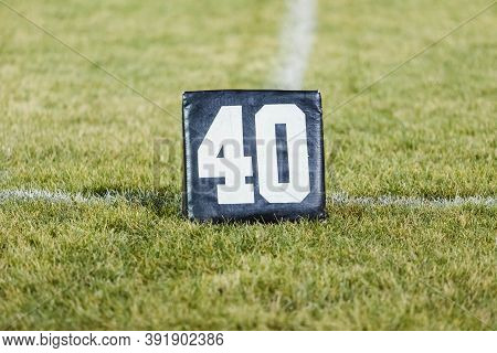A Forty Yard Line Marker Ready For Practice At Marching Band Rehearsal