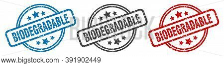 Biodegradable Stamp. Biodegradable Round Isolated Sign. Biodegradable Label Set