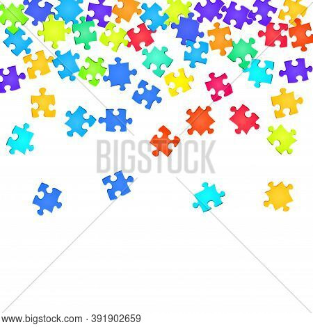 Business Enigma Jigsaw Puzzle Rainbow Colors Parts Vector Illustration. Group Of Puzzle Pieces Isola