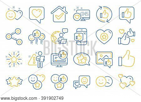 Social Media Line Icons. Set - Share Network, Social Links And Rating Linear Icons. Heart, Feedback