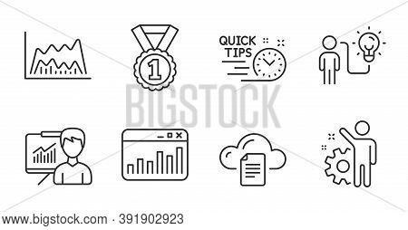 Best Rank, Employee And Marketing Statistics Line Icons Set. Business Idea, File Storage And Quick T