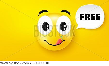 Free Symbol. Yummy Smile Face With Speech Bubble. Special Offer Sign. Sale. Yummy Smile Character. F