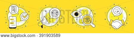 Targeting, Atm Service And Coffee Vending Line Icons Set. Cell Phone, Megaphone And Deal Vector Icon