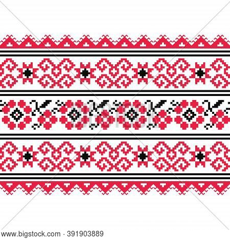 Ukrainian, Belarusian Folk Art Vector Seamless Floral Pattern, Long Cross-stitch Ornament Inspired B