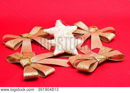 Christmas Tree Decorations, Holiday Ribbons, Stars On A Red Background, Decoration, Design