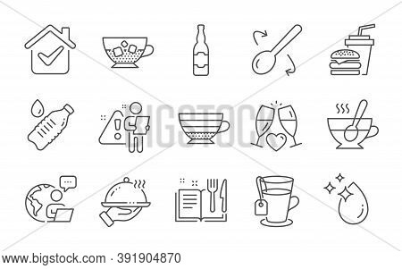 Cooking Spoon, Water Drop And Wedding Glasses Line Icons Set. Cold Coffee, Water Bottle And Hamburge