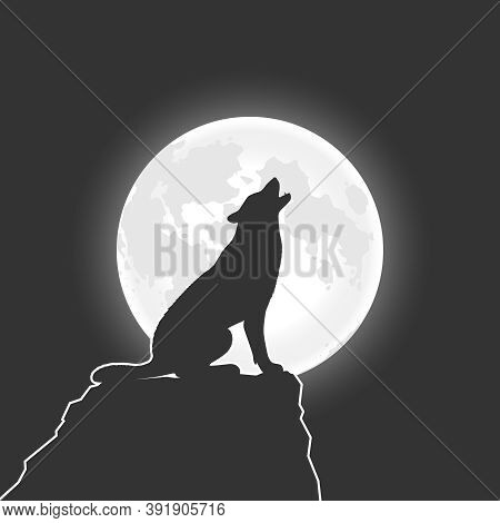Wolf Howls At The Moon. Wolf On The Rock In The Night Graphic Poster. Vector Illustration