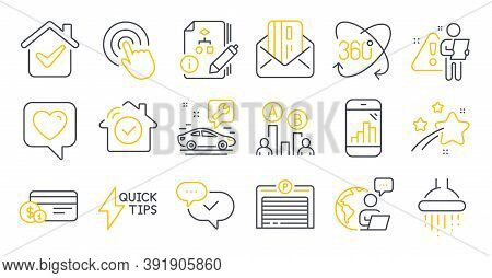 Set Of Technology Icons, Such As Algorithm, House Security, Shower Symbols. Graph Phone, Full Rotati