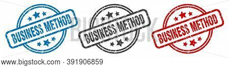 Business Method Stamp. Business Method Round Isolated Sign. Business Method Label Set