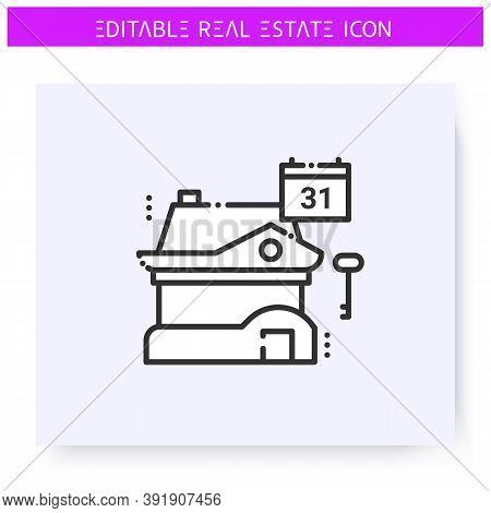 Rent Date Available Line Icon. Settlement Date, Calendar. Real Estate Agency, Housing Business Conce