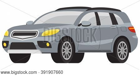 Suv Three Quarter View. Grey Automobile In Cartoon Style.
