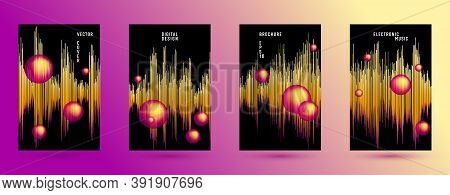 Music Banners Set With Sound Wave Background.  Abstract Seismic Amplitude Concept.  Distorted Sound