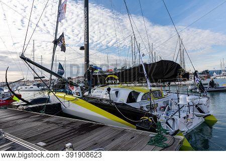 Les Sables D'olonne, France - October 19, 2020: Charlie Dalin Boat (apivia) On The Vendee Globe 2020