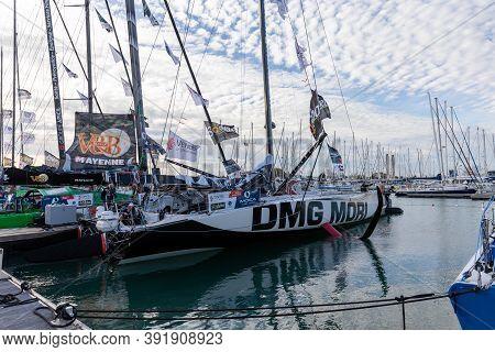 Les Sables D'olonne, France - October 19, 2020: Kojiro Shiraishi Boat (dmg Mori) On The Vendee Globe