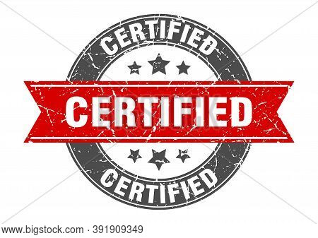 Certified Round Stamp With Red Ribbon. Certified