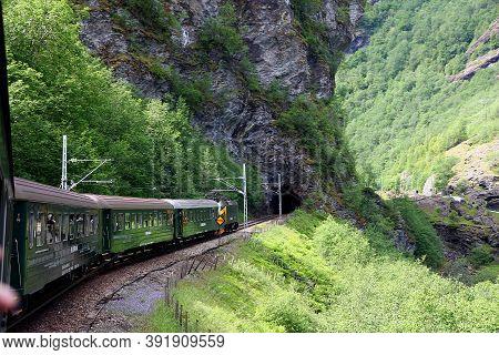 Flamsbana, Norway - 25 Jun 2012: Flamsbana, The Flam Railway In Mountains Of Norway