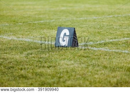A Goal Line Marker Ready For Practice At Marching Band Rehearsal
