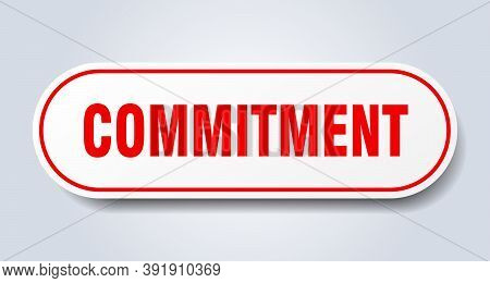 Commitment Sign. Rounded Isolated Button. White Sticker