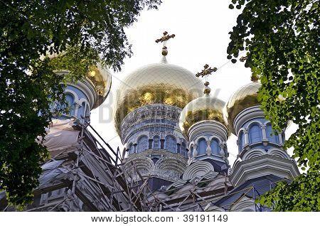 Dome Of The St. Nicholas Cathedral In Pokrovsky Monastery In Kiev