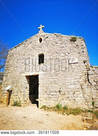 Pic Saint Loup, France - March, 25, 2019: Church At Pic Saint-loup Mountain In Languedoc-roussillon,