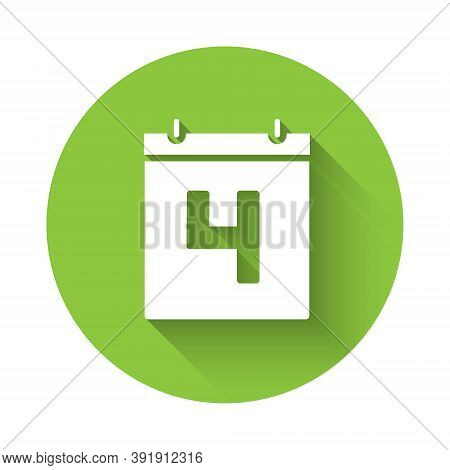 White Day Calendar With Date July 4 Icon Isolated With Long Shadow. Usa Independence Day. 4th Of Jul