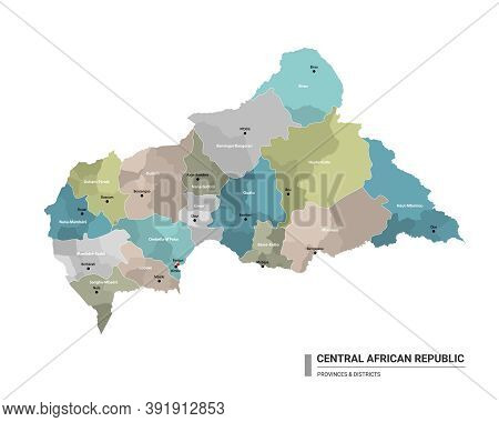Central African Republic Higt Detailed Map With Subdivisions. Administrative Map Of Central African