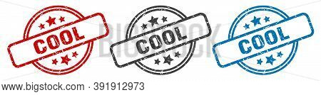 Cool Stamp. Cool Round Isolated Sign. Cool Label Set