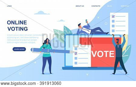 Online Voting Concept. People Give Vote And Putting Papper Vote In To The Ballot Box. Website, Webpa