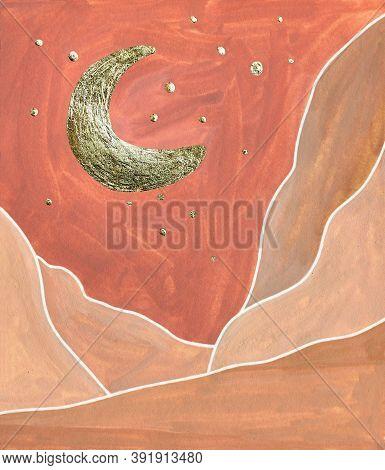 Golden Crescent, Stars, Red Terracotta Sky, Mountain Landscape. Abstract Modern Poster. Gouache Simp