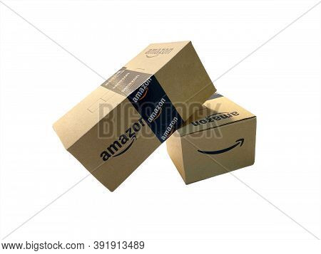 Kuala Lumpur, Malaysia - October 20,2020 : Amazon Prime Box Or Amazon Shipping Box Isolated On White