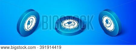 Isometric Ancient Coin Icon Isolated On Blue Background. Blue Circle Button. Vector