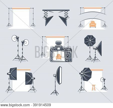 Set Of Elements Of The Photo Studio. Symbols For Photo Studio Design Logos And Emblems. Flat Design