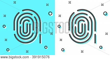 Black Line Fingerprint Icon Isolated On Green And White Background. Id App Icon. Identification Sign