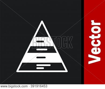White Business Pyramid Chart Infographics Icon Isolated On Black Background. Pyramidal Stages Graph