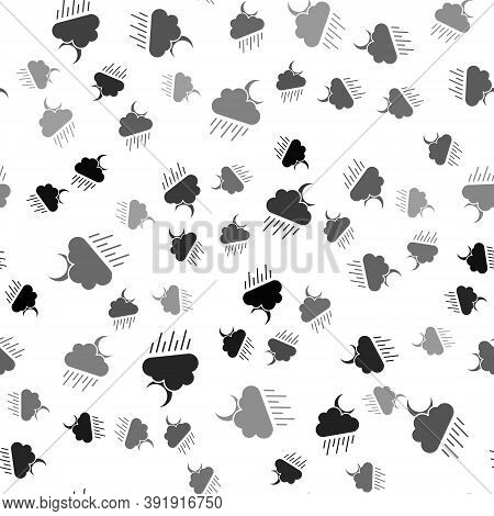Black Cloud With Rain And Moon Icon Isolated Seamless Pattern On White Background. Rain Cloud Precip
