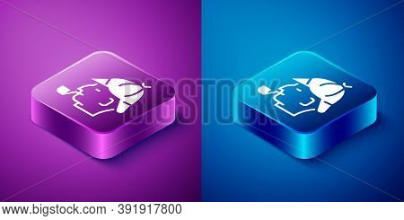 Isometric Sherlock Holmes With Smoking Pipe Icon Isolated On Blue And Purple Background. Detective.