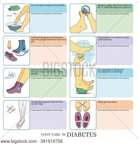 Vector Illustration On The Topic Of Foot Care For Diabetes. Prevention Of Diabetic Foot. Information