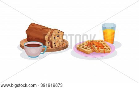 Waffles With Caramel And Bun With Raisin Served On Plate Vector Set