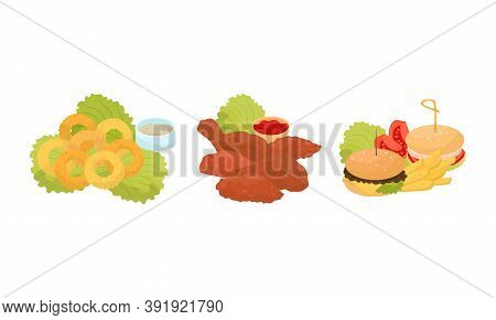 Snacks And Starters As Food Catering Vector Set