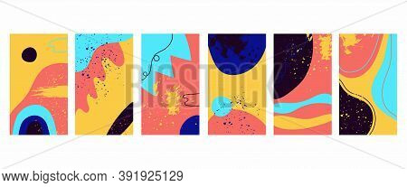 Trendy Backgrounds. Patterns Doodle Shapes Freehand Bright Neon Forms Textures. Hand Drawn Abstract
