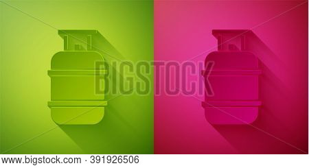 Paper Cut Propane Gas Tank Icon Isolated On Green And Pink Background. Flammable Gas Tank Icon. Pape